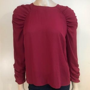 Who What Wear Sz XS Red Shirt with Ruffle Sleeves